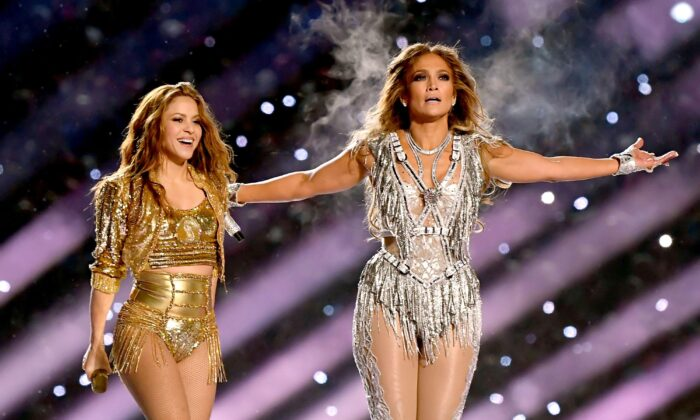 (L-R) Shakira and Jennifer Lopez perform onstage during the Pepsi Superbowl LIV Halftime Show at Hard Rock Stadium in Miami, Fla., on Feb. 02, 2020.  Kevin Winter/Getty Images