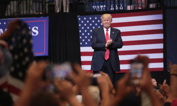 President Donald Trump arrives for a rally in Cedar Rapids, Iowa, on June 21, 2017. (Scott Olson/Getty Images)