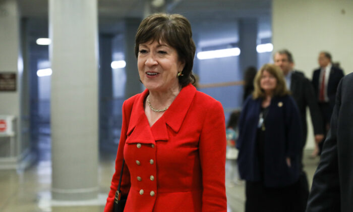 Sen. Susan Collins (R-Maine) arrives at the Capitol for President Donald Trump's State of the Union address, in Washington on Feb. 4, 2020. (Charlotte Cuthbertson/The Epoch Times)
