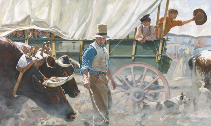 """Pioneers travel in the wagon train on the westward trail in the 1840s. """"Westward Ho!"""" 2016, by Heide Presse. Oil on linen panel; 24 inches by 42 inches. (Courtesy of Heide Presse)"""