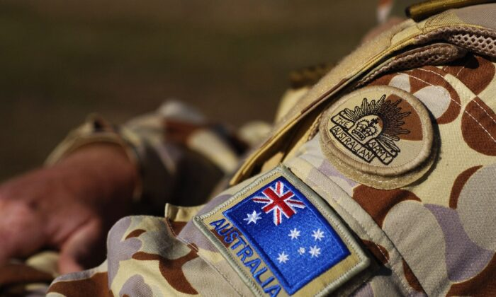 The Australian Army insignia and the Australian flag on military uniform on Aug. 1, 2007. (Getty Images)