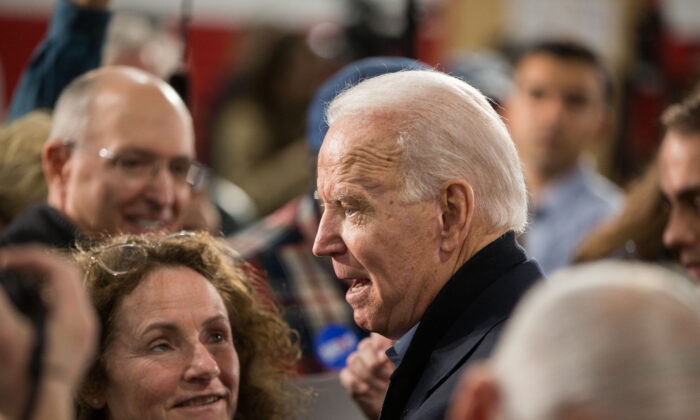 Democratic presidential candidate former Vice President Joe Biden greets supporters during a campaign event at Girls Inc. in Nashua, N.H., on Feb. 4, 2020. (Scott Eisen/Getty Images)