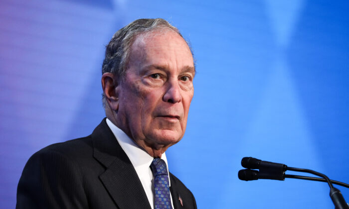 Former New York City mayor and 2020 presidential candidate Michael Bloomberg during the U.S. Conference of Mayors in Washington on Jan. 22, 2020. (Charlotte Cuthbertson/The Epoch Times)