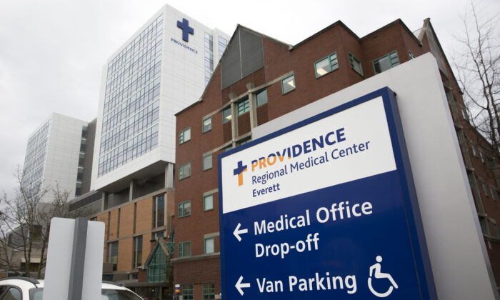 Providence Regional Medical Center where the first known person infected with 2019 Novel Coronavirus was being observed, in Everett, Washington, on Jan. 21, 2020. (Jason Redmond/AFP via Getty Images)