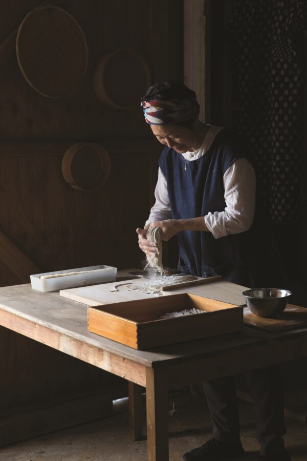 sonoko making soba (noodles and dumplings)