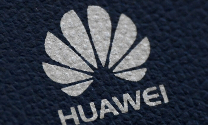 The Huawei logo is seen on a communications device in London, Britain, on Jan. 28, 2020. (Toby Melville/Reuters)