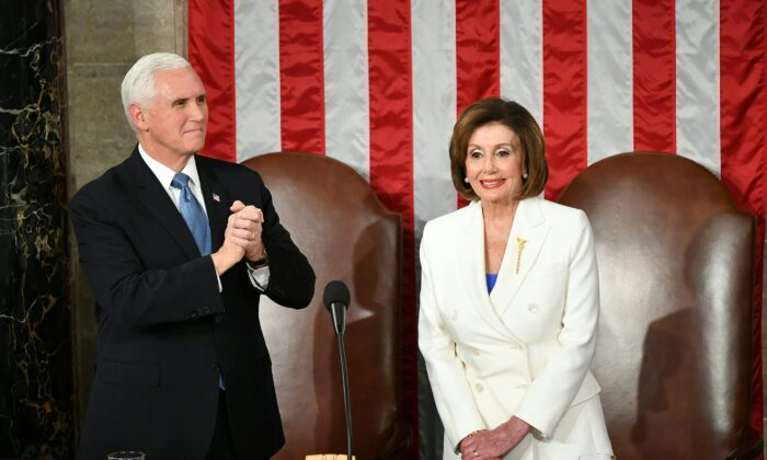 Vice President Mike Pence and Speaker of the House Nancy Pelosi are seen at their seats  before President Donald Trump's State of the Union address at the U.S. Capitol in Washington, on Feb. 4, 2020. (Mandel Ngan/AFP via Getty Images)