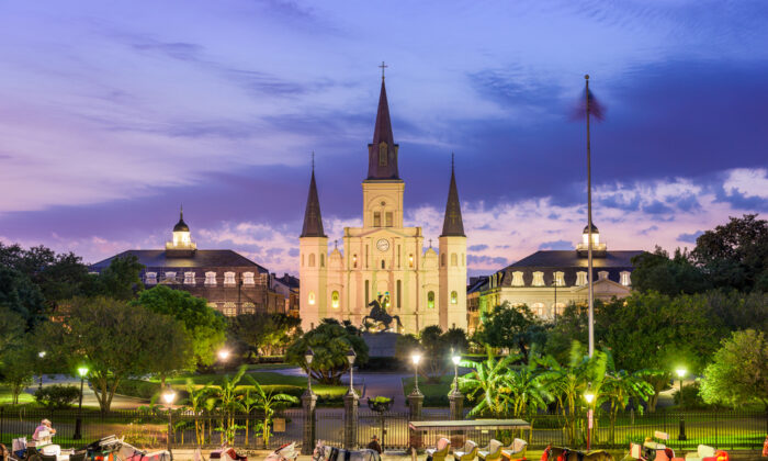 Jackson Square is New Orleans's leading landmark. Against the backdrop of historic Saint Louis Cathedral, Maj. Gen. Andrew Jackson, hero of the Battle of New Orleans, sits astride his horse, tipping his hat to visitors.  (Sean Pavone/Shutterstock)