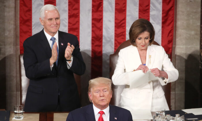House Speaker Rep. Nancy Pelosi (D-Calif.) rips up pages of the State of the Union speech after U.S. President Donald Trump finishes his address in the chamber of the U.S. House of Representatives in Washington on Feb. 04, 2020.  (Mark Wilson/Getty Images)
