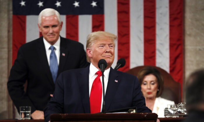 President Donald Trump begins to deliver his State of the Union address to a joint session of the Congress in the House Chamber of the U.S. Capitol in Washington, on Feb. 4, 2020. (Leah Millis/Reuters)