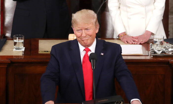 President Donald Trump delivers the State of the Union address in the chamber of the House of Representatives in Washington, on Feb. 4, 2020. (Mark Wilson/Getty Images)