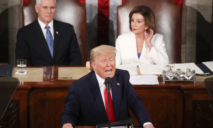 President Donald Trump delivers the State of the Union address as House Speaker Rep. Nancy Pelosi (D-Calif.) and Vice President Mike Pence look on in the chamber of the U.S. House of Representatives in Washington on Feb. 04, 2020.  (Mark Wilson/Getty Images)