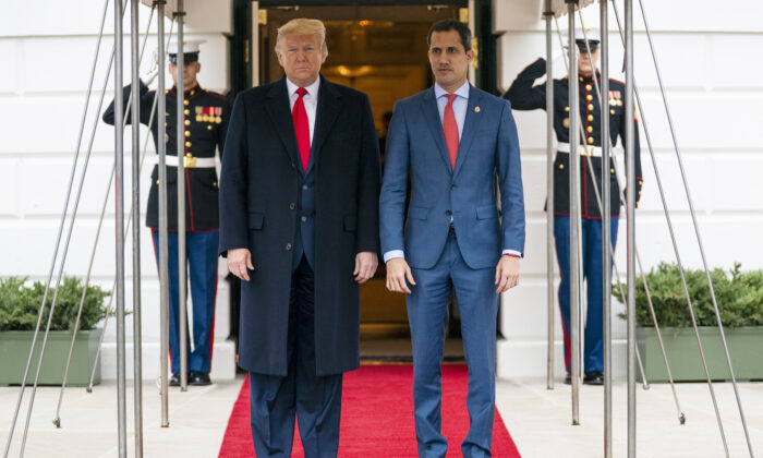 President Donald Trump welcomes Venezuelan opposition leader Juan Guaido to the White House in Washington on Feb. 5, 2020. ( Evan Vucci)