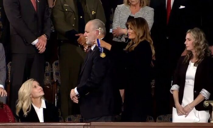 Conservative talk radio host Rush Limbaugh was awarded the Presidential Medal of Freedom during President Donald Trump's State of the Union address. (White House)