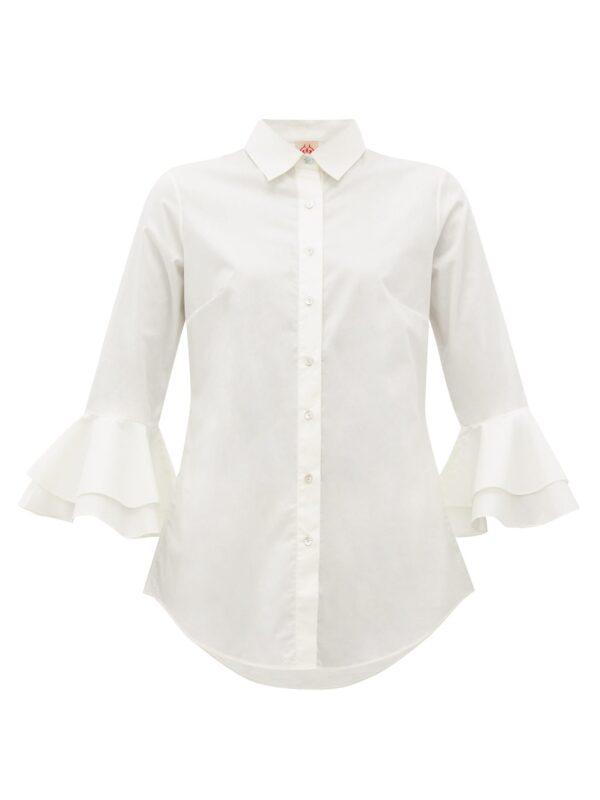 Nina Trumpet Sleeves Cotton Shirt by Le Sirenuse Positano
