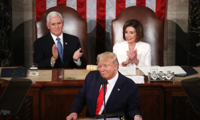 President Donald Trump delivers the State of the Union address as House Speaker Rep. Nancy Pelosi (D-Calif.)  and Vice President Mike Pence look on in the chamber of the U.S. House of Representatives in Washington on Feb. 4, 2020. (Mark Wilson/Getty Images)