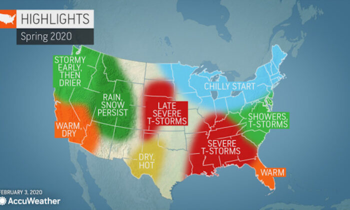 Map showing region-by-region forecast for 2020 from Accuweather on Feb. 3, 2020. (Accuweather)