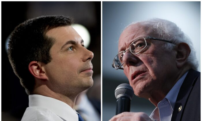 This combination of Jan. 26, 2020, photos shows at left, Democratic presidential candidate former South Bend, Ind., Mayor Pete Buttigieg in Des Moines, Iowa; and at right Democratic presidential candidate Sen. Bernie Sanders (I-Vt.) in Sioux City, Iowa. (AP Photo)