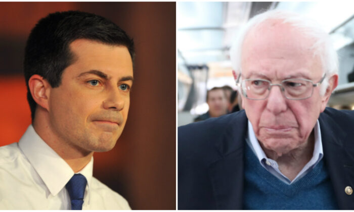 (L) Democratic presidential candidate Mayor Pete Buttigieg is interviewed by moderator Chris Wallace during a FOX News Channel Town Hall at the River Center in Des Moines, Iowa on Jan. 26, 2020 in Des Moines, Iowa. (Steve Pope/Getty Images)  (R) Democratic presidential candidate Sen. Bernie Sanders (I-VT) speaks to the media after boarding the plane at the Des Moines International Airport on Feb. 04, 2020 in Des Moines, Iowa. (Joe Raedle/Getty Images)