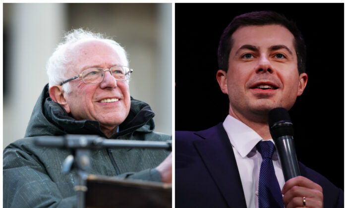 Democratic presidential candidates Sen. Bernie Sanders (I-Vt.) (L) and former South Bend Mayor Pete Buttigieg in file photographs. (Sean Rayford and Spencer Platt/Getty Images)