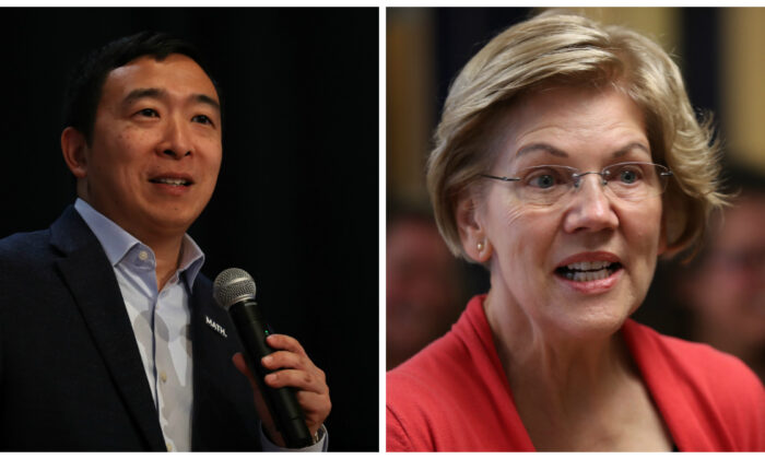 Democratic presidential candidates Andrew Yang, left, and Sen. Elizabeth Warren (D-Mass.) on the campaign trail in recent photographs. (Justin Sullivan and Joe Raedle/Getty Images)