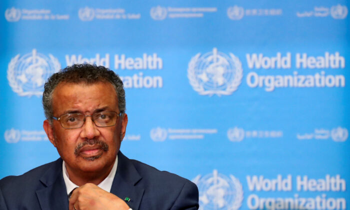 Director-General of the World Health Organization (WHO) Tedros Adhanom Ghebreyesus at a news conference on the novel coronavirus (2019-nCoV) in Geneva, Switzerland on Feb. 6, 2020. (Denis Balibouse/Reuters)