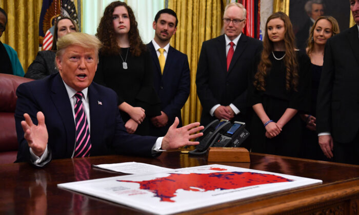 President Donald Trump speaks during the Announcement of the Guidance on Constitutional Prayer in Public Schools, at the White House in Washington on Jan. 16, 2020.  (Nicholas Kamm/AFP via Getty Images)