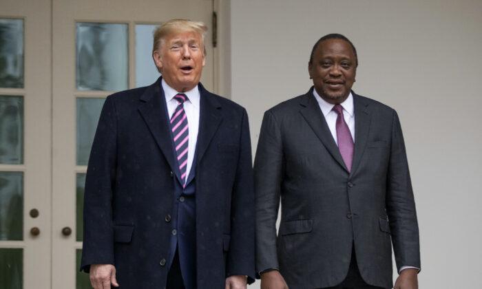 President Donald Trump welcomes Kenyan President Uhuru Kenyatta at the White House, Thursday, Feb. 6, 2020. (Manuel Balce Ceneta/AP Photo)