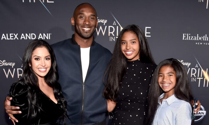 """(L-R) Vanessa Laine Bryant, former NBA player Kobe Bryant, Natalia Diamante Bryant, and Gianna Maria-Onore Bryant arrive at the world premiere of Disney's """"A Wrinkle in Time"""" at the El Capitan Theatre in Hollywood CA, on Feb. 26, 2018. (Alberto E. Rodriguez/Getty Images for Disney)"""