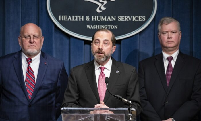 Health and Human Services Secretary Alex Azar speaks during a press conference on recent developments with the coronavirus with other members of President Trump's Coronavirus Task Force at the agency's headquarters in Washington on Feb. 7, 2020. (Samuel Corum/Getty Images)
