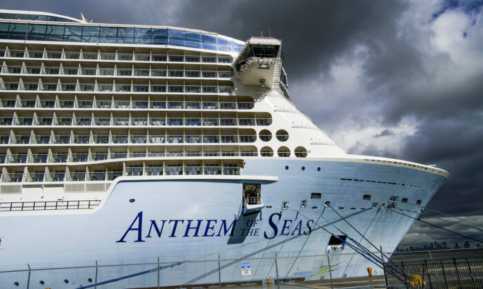 Royal Caribbean's cruise ship Anthem of the Seas in Bayonne, New Jersey on Feb. 7, 2020. (Eduardo Munoz Alvarez/Getty Images)