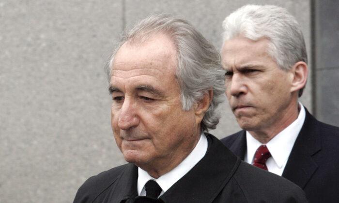 Former financier Bernard Madoff exits Federal Court in Manhattan, New York, on March 10, 2009. (David Karp/AP Photo)