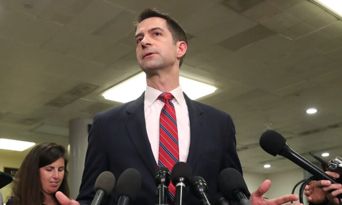 Sen. Tom Cotton (R-Ark.) speaks to the media after attending a briefing with administration officials about the situation with Iran, at the U.S. Capitol in Washington on Jan. 8, 2020. (Mark Wilson/Getty Images)