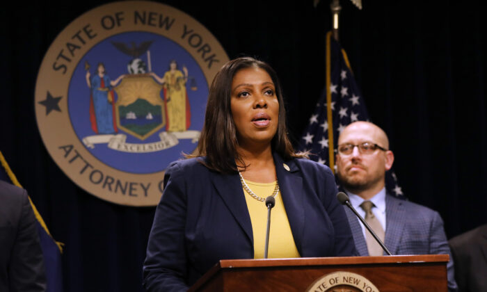 New York Attorney General Letitia James speaks at a press conference in New York City in a file photograph. (Spencer Platt/Getty Images)