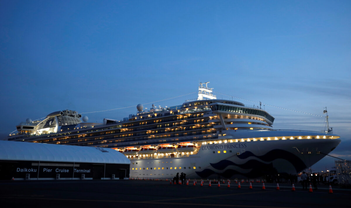 Cruise ship Diamond Princess arrives at Daikoku Pier Cruise Terminal in Yokohama