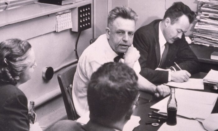 American sexuality researcher Alfred Kinsey (1894-1956) works with his staff while preparing the final manuscript of his book 'Sexual Behavior in the Human Female,' 1953.  (Hulton Archive/Getty Images)