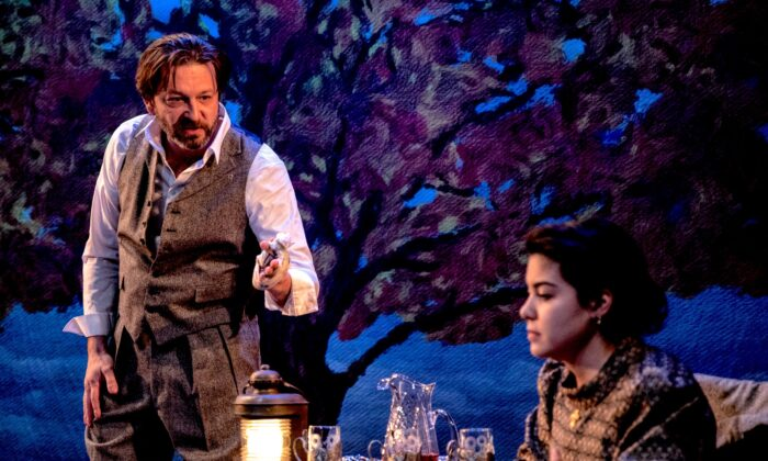 """Alexander Sokovikov and Brittany Anikka Liu play characters with opposite ideals in """"The Artist,"""" an adaptation of a short story by Anton Chekhov. (Maria Baranova)"""