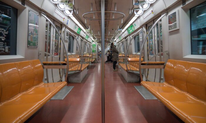 On the first working day after the Chinese New Year, few people take the metro in Beijing, China on Feb. 10, 2020. (Andrea Verdelli/Getty Images)