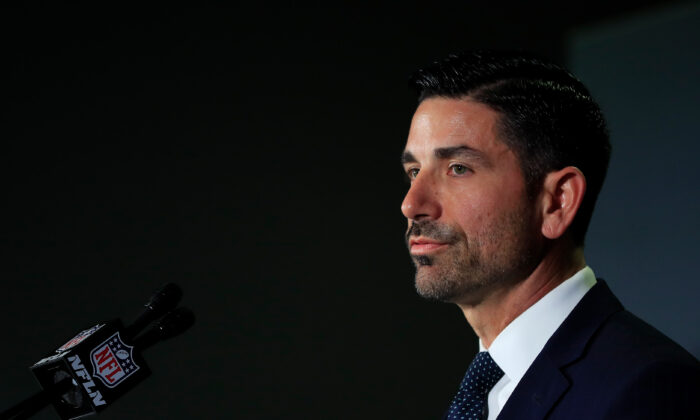 Chad Wolf, acting Secretary of Homeland Security, speaks to the media during a press conference prior to Super Bowl LIV at the Hilton Miami Downtown in Miami, Florida, on Jan. 29, 2020. (Cliff Hawkins/Getty Images)