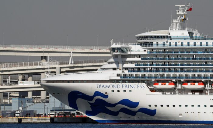 The cruise ship Diamond Princess, where dozens of passengers were tested positive for coronavirus, is seen at Daikoku Pier Cruise Terminal in Yokohama, south of Tokyo, Japan on Feb. 10, 2020. (Kim Kyung-Hoon/Reuters)