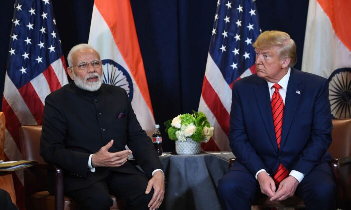 President Donald Trump and Indian Prime Minister Narendra Modi hold a meeting at UN Headquarters in New York on Sept. 24, 2019. (Saul Loeb/AFP via Getty Images)