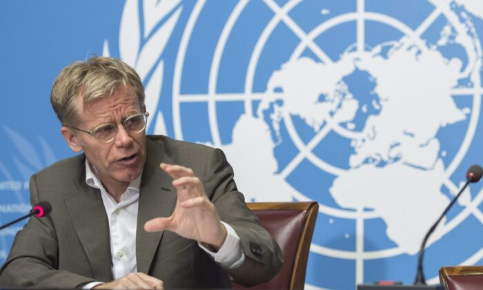 Canadian epidemiologist Bruce Aylward speaks during a press conference at the United Nations European headquarters in Geneva, Switzerland, on July 7, 2016. Aylward will lead an international team of experts in the study of China's novel coronavirus outbreak. (The Canadian Press/AP, Keystone)