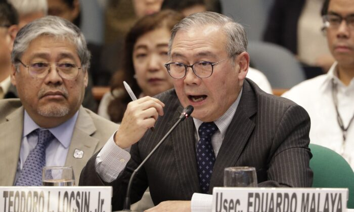 Philippine Secretary of Foreign Affairs Teodoro Locsin Jr. gestures during a senate hearing in Manila, Philippines, on Feb. 6, 2020. (Aaron Favila/AP Photo)