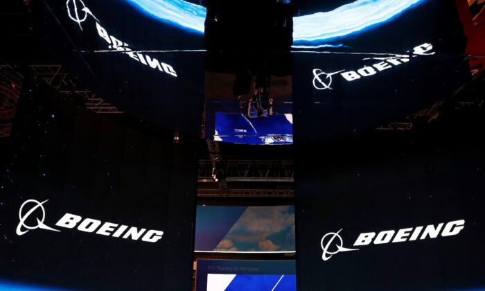 A view of the Boeing booth at the Singapore Airshow in Singapore on Feb. 11, 2020. (Edgar Su/Reuters)