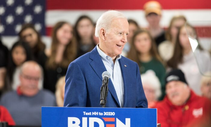 Democratic presidential candidate former Vice President Joe Biden speaks during a campaign event in Manchester, New Hampshire on Feb. 10, 2020. (Scott Eisen/Getty Images)