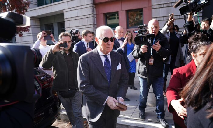 Former adviser to President Donald Trump, Roger Stone, leaves the E. Barrett Prettyman United States Courthouse after being found guilty of obstructing a congressional investigation into Russia's interference in the 2016 election, in Washington on Nov. 15, 2019. (Win McNamee/Getty Images)
