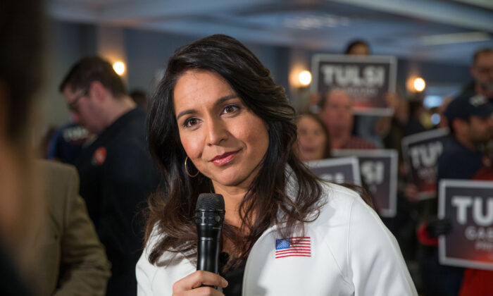 Rep. Tulsi Gabbard (D-Hawaii) answers media questions following a campaign event in Portsmouth, N.H., on Feb. 9, 2020. (Scott Eisen/Getty Images)