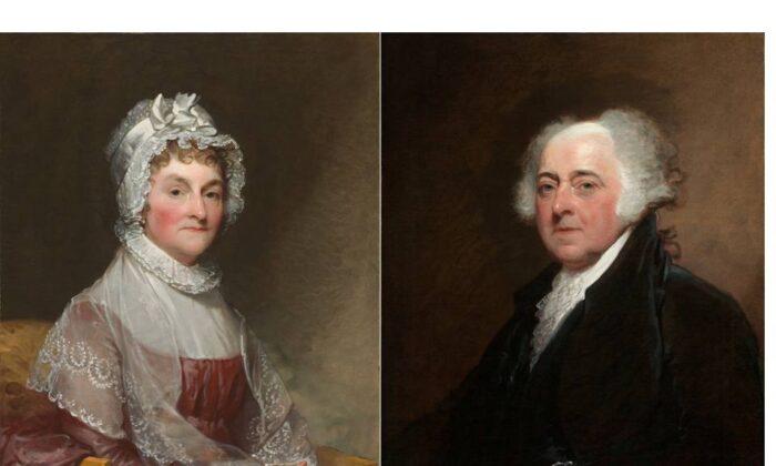 """Abigail Smith Adams"" by Gilbert Stuart, 1810-1815. (Public domain) and  Portrait of John Adams by Gilbert Stuart, 1810-1815. (Public domain)"