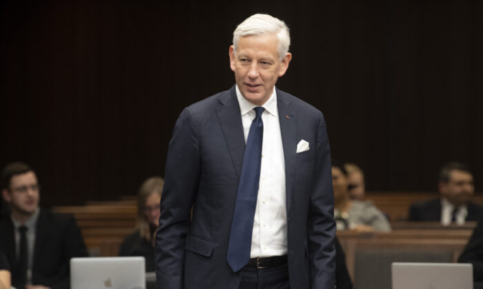 Canada's ambassador to China Dominic Barton waits to appear before the House of Commons committee on Canada-China relations in Ottawa on Feb. 5, 2020. (The Canadian Press/Adrian Wyld)