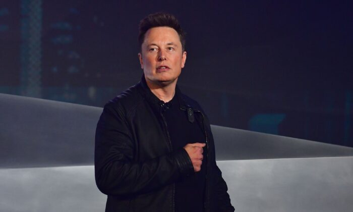 Tesla co-founder and CEO Elon Musk speaks during the unveiling of the all-electric battery-powered Tesla's Cybertruck at the Tesla Design Center in Hawthorne, Calif., on Nov. 21, 2019. (FREDERIC J. BROWN/AFP via Getty Images)
